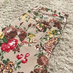 Other - BNWOT Girls Floral Tan Twill Jeans Pants Spring